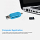 Micro USB 2 IN 1 OTG Card Reader Type-C3.0 Support TF Card Recorder Phone Storage Card Rotatable Card Reader Blue