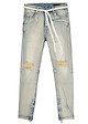 Quần Nam Distressed Skinny Jeans In Wash Olive With Zips