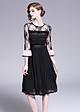 Đầm xòe dạo phố đẹp kiểu đầm xòe xếp ly váy kim tuyến tay loe GOTI1708