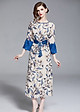 Đầm suông dạo phố kiểu đầm suông in hoa xẻ tà kèm thắt lưng ROMI1706