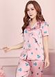 Bộ pijama lụa cao cấp tay cộc quần dài họa tiết trái tim H068
