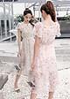 Đầm xòe dạo phố kiểu đầm xòe bệt vai nhún eo in hoa GOTI1612