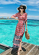 Đầm xòe đi biển kiểu đầm xòe in họa tiết cột eo ROMI1665