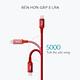 Dây cáp dù sạc nhanh Lightning Bagi dài 20cm IS20 màu đỏ cho Iphone/Ipad/Ipod -Hàng chính hãng