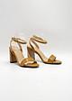 Carnation - Giày Sandal Quai Ngang Gót Vuông 7cm Màu Nâu