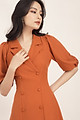 Đầm xòe nữ  thiết kế công sở cổ vest nút bọc tay phồng GUMAC DA555 ( màu gạch và nude)