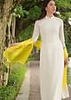 Khăn Choàng SenSilk Luxury 100% Lụa Bảo Lộc (Vàng Chanh) Border Lace Silk Scarf