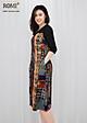 Đầm suông bigsize dạo phố kiểu đầm suông in họa tiết lá nhiều màu viền đen ROMI 3071