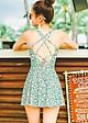 Đồ bơi một mảnh váy hoa nhí xanh quyến rũ, chất bơi Hàn cao cấp co giãn 4 chiều đẹp   KT045