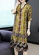 Đầm suông bigsize dạo phố kiểu đầm suông in họa tiết hoa và hoa văn viền kim tuyến ROMI1625