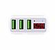 Cốc sạc 3 cổng Hoco C15 3A dành cho IPHONE/IPAD hỗ trợ sạc nhanh- màn hình LCD hiển thị điện áp (trắng) - Hàng nhập khẩu