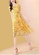 Đầm Voan Hoa Vàng Phối Ren