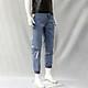 Quần jeans jogger in chữ Mã: ND1499- XANH ĐẬM