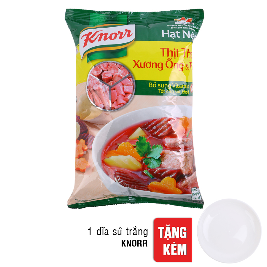 Hạt Nêm Knorr Từ Thịt Thăn, Xương Ống Và Tủy Bổ Sung Vitamin A (900g) - Tặng 1 Dĩa Sứ Trắng
