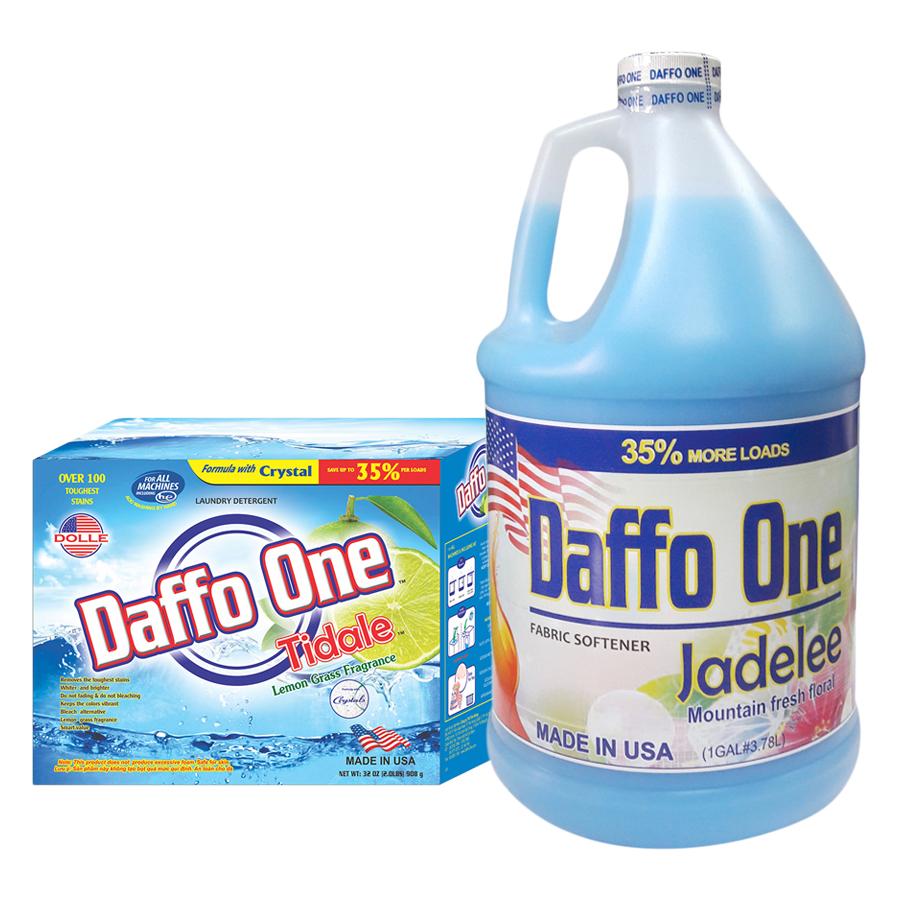 Bộ Bột Giặt Daffo One Tidale Hương Cỏ Chanh (908g / Hộp) + Nước Xả Vải Daffo One Jadelee Hương Hoa Rừng (3.8L / Chai) - 1992742 , 3823689429712 , 62_944328 , 523000 , Bo-Bot-Giat-Daffo-One-Tidale-Huong-Co-Chanh-908g--Hop-Nuoc-Xa-Vai-Daffo-One-Jadelee-Huong-Hoa-Rung-3.8L--Chai-62_944328 , tiki.vn , Bộ Bột Giặt Daffo One Tidale Hương Cỏ Chanh (908g / Hộp) + Nước Xả Vải