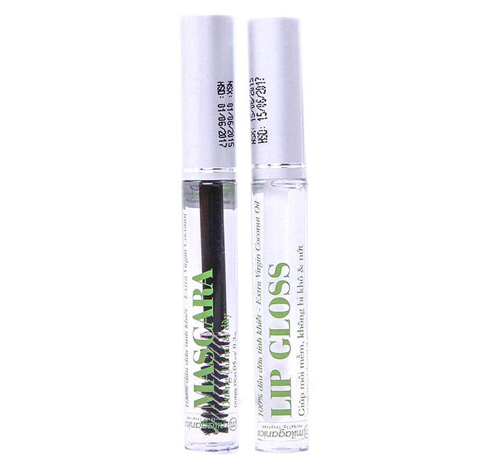 Combo Mascara Dầu Dừa Dưỡng Mi Milaganics + Tinh Chất Dưỡng Môi Lip Gloss Milaganics