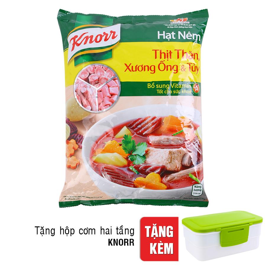 Hạt Nêm Knorr Từ Thịt Thăn, Xương Ống Và Tủy Bổ Sung Vitamin A (1.2kg) - Tặng Hộp Cơm Hai Tầng