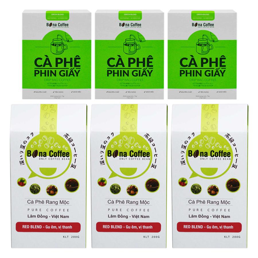 Bộ 3 Cà Phê Rang Xay Nguyên Chất Bona Coffee Red Blend + 3 Cà Phê Phin Giấy Bona Coffee Green Blend - 873123 , 3653051246278 , 62_897110 , 441000 , Bo-3-Ca-Phe-Rang-Xay-Nguyen-Chat-Bona-Coffee-Red-Blend-3-Ca-Phe-Phin-Giay-Bona-Coffee-Green-Blend-62_897110 , tiki.vn , Bộ 3 Cà Phê Rang Xay Nguyên Chất Bona Coffee Red Blend + 3 Cà Phê Phin Giấy Bona Cof