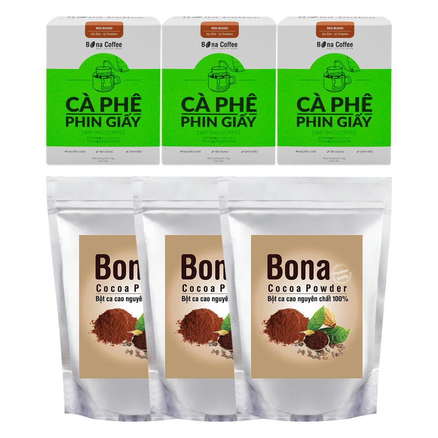 Bộ 3 Cà Phê Phin Giấy Bona Coffee Red Blend + 3 Bột Cacao Cao Cấp Bona Cacao - 873127 , 3659205525817 , 62_897114 , 471000 , Bo-3-Ca-Phe-Phin-Giay-Bona-Coffee-Red-Blend-3-Bot-Cacao-Cao-Cap-Bona-Cacao-62_897114 , tiki.vn , Bộ 3 Cà Phê Phin Giấy Bona Coffee Red Blend + 3 Bột Cacao Cao Cấp Bona Cacao