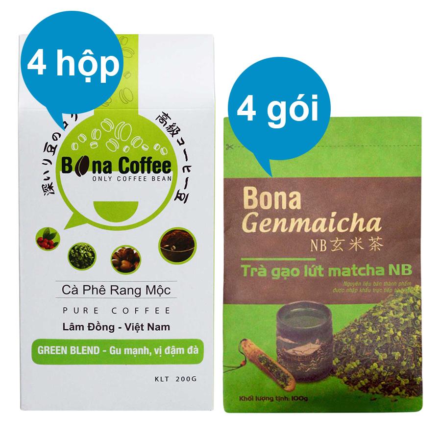 Bộ 4 Trà Xanh Gạo Lứt Matcha Nhật Bản Bona Genmaicha + 4 Cà Phê Rang Xay Nguyên Chất Bona Coffee Green Blend - 873138 , 3657402936948 , 62_897430 , 860000 , Bo-4-Tra-Xanh-Gao-Lut-Matcha-Nhat-Ban-Bona-Genmaicha-4-Ca-Phe-Rang-Xay-Nguyen-Chat-Bona-Coffee-Green-Blend-62_897430 , tiki.vn , Bộ 4 Trà Xanh Gạo Lứt Matcha Nhật Bản Bona Genmaicha + 4 Cà Phê Rang Xay Ng