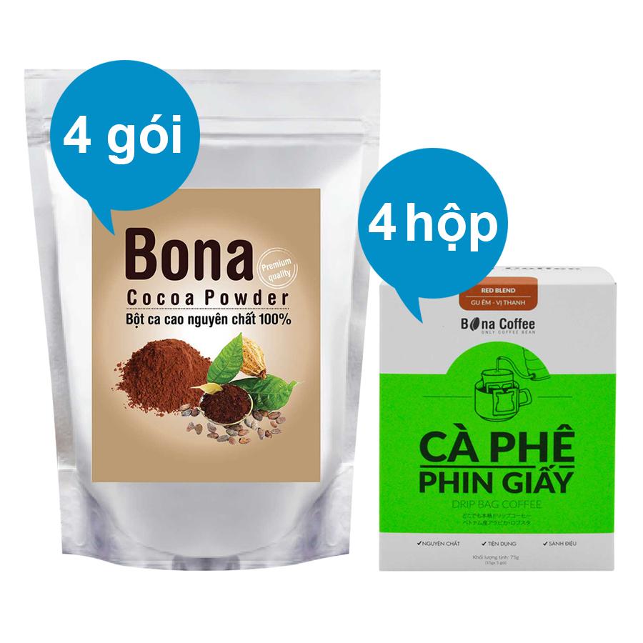 Bộ 4 Cà Phê Phin Giấy Bona Coffee Red Blend + 4 Bột Cacao Cao Cấp Bona Cacao - 873143 , 3659597774947 , 62_897458 , 628000 , Bo-4-Ca-Phe-Phin-Giay-Bona-Coffee-Red-Blend-4-Bot-Cacao-Cao-Cap-Bona-Cacao-62_897458 , tiki.vn , Bộ 4 Cà Phê Phin Giấy Bona Coffee Red Blend + 4 Bột Cacao Cao Cấp Bona Cacao