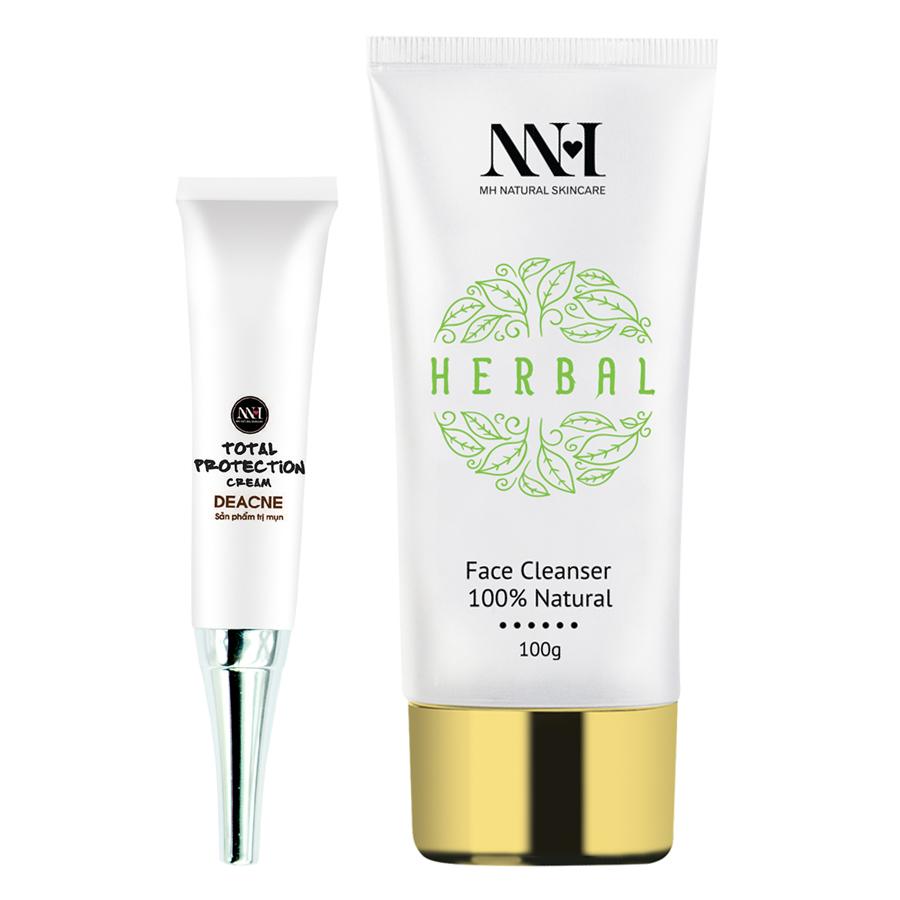 Combo MH Natural Skincare: Sữa Rửa Mặt + Kem Trị Mụn