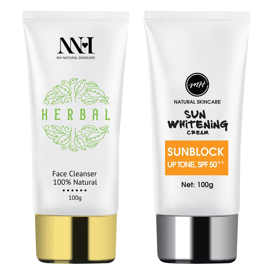 Combo MH Natural Skincare: Sữa Rửa Mặt + Sunblock SPF50++