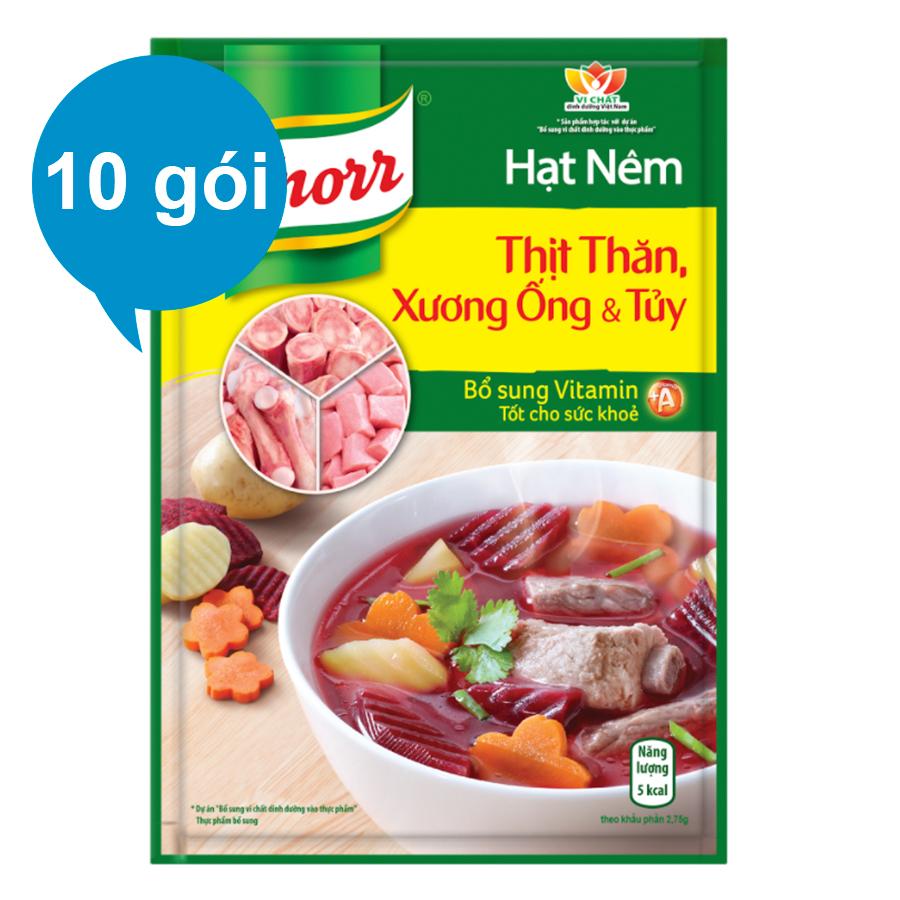 Combo 10 Hạt Nêm Knorr Thịt Thăn, Xương Ống Và Tủy Bổ Sung Vitamin A (55g/Gói)