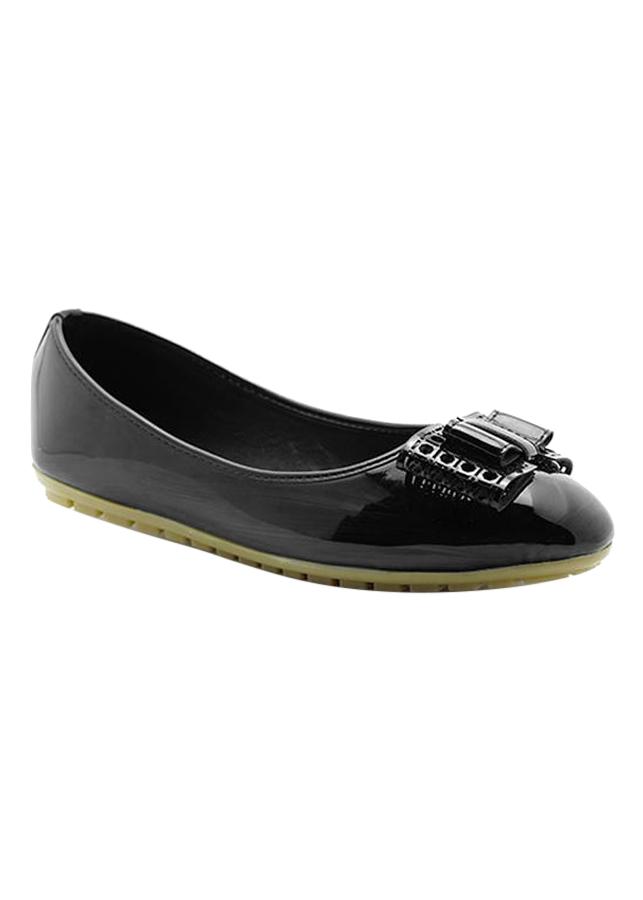 Giày Búp Bê Đính Nơ Cắt Laser Princess PRIN33D - Đen