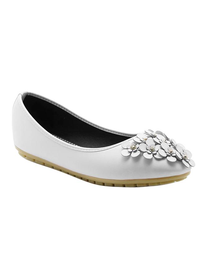 Giày Búp Bê Đính Hoa Pha Lê Princess PRIN42T - Trắng
