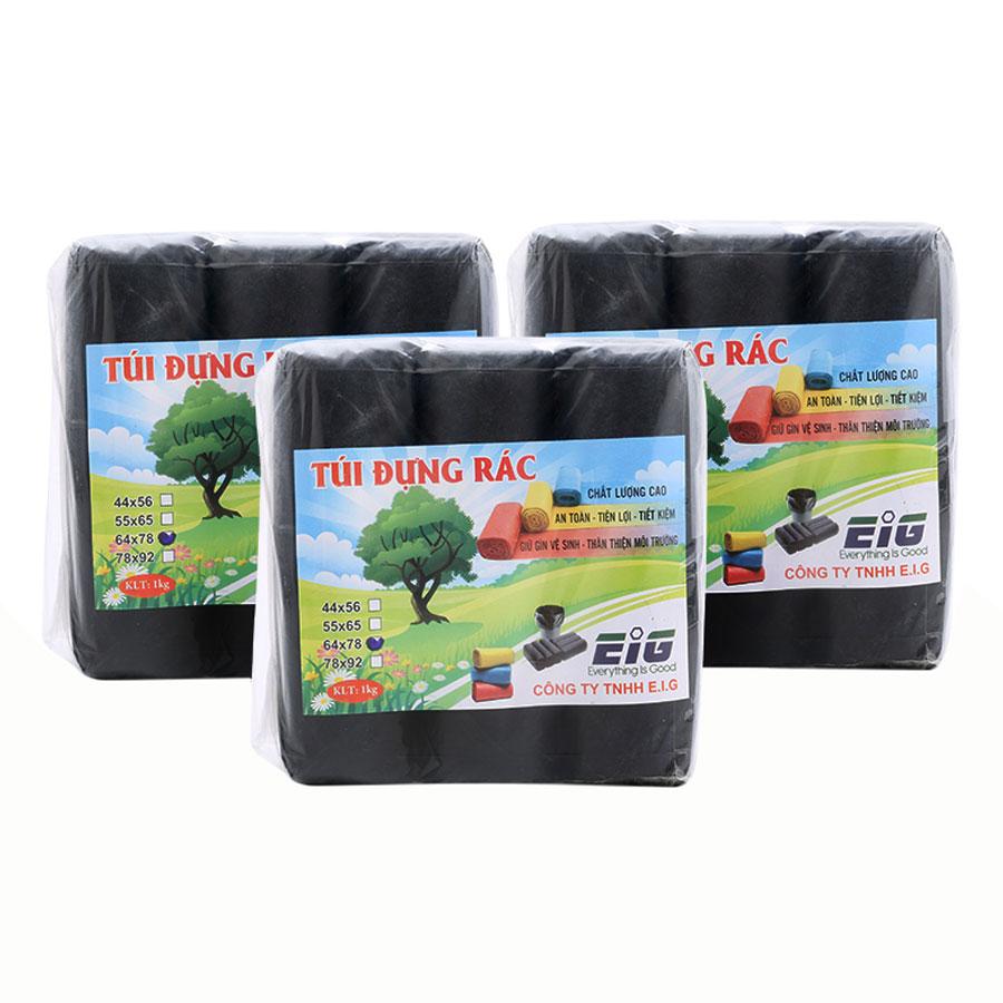 Combo 3kg Túi Đựng Rác Không Lõi EIG 3-EIG-B 6478 Size Đại (64 x 78 cm) - Đen