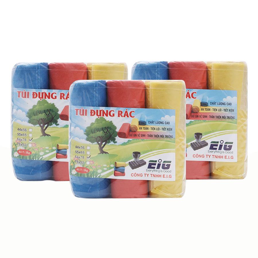 Combo 3kg Túi Đựng Rác Không Lõi EIG 3 EIG 6478 Size Đại (64 x 78 cm) - Nhiều Màu