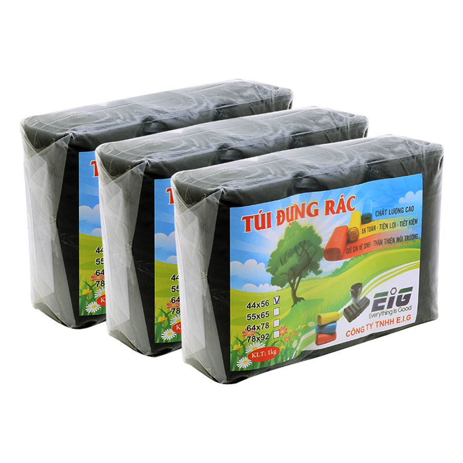Combo 3kg Túi Đựng Rác Không Lõi EIG 3-EIG-B 4456 Size Nhỏ (44 x 56 cm) - Đen