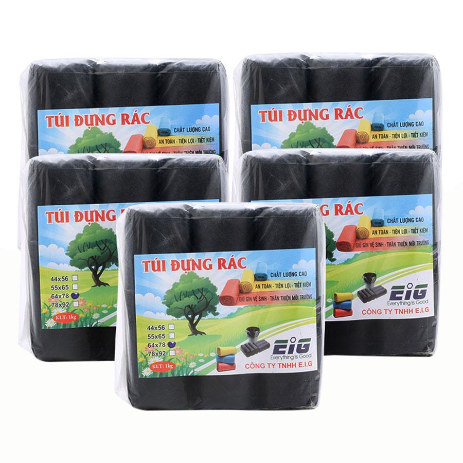 Combo 5kg Túi Đựng Rác Không Lõi EIG 5-EIG-B 6478 Size Đại (64 x 78 cm) -  Đen