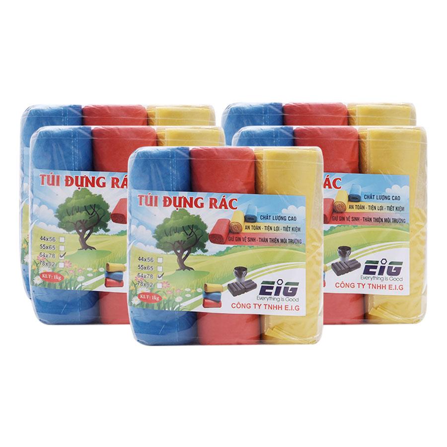Combo 5kg Túi Đựng Rác Không Lõi EIG 5 EIG 6478 Size Đại (64 x 78 cm) - Nhiều Màu
