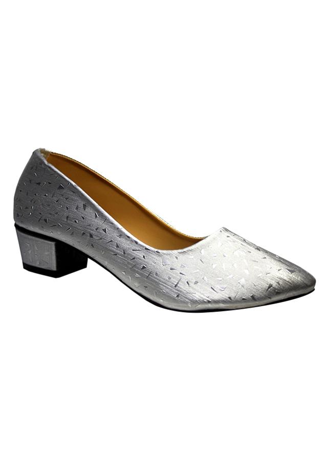 Giày Gót Vuông Họa Tiết Nhỏ ShopNCC 85XA - Xám