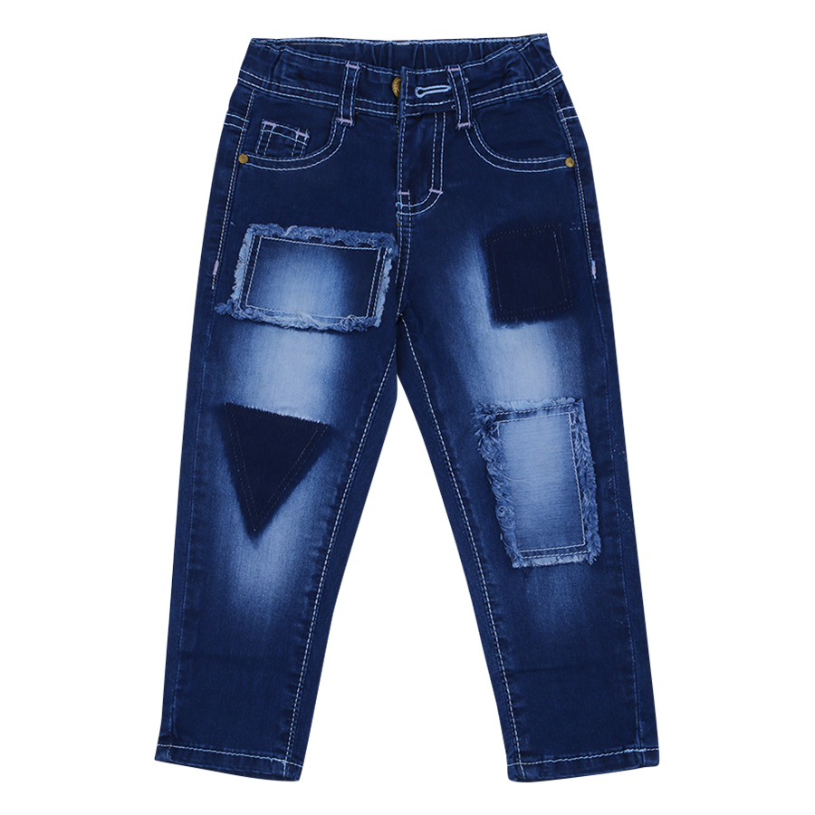 Quần Jeans Dài Thêu Bướm Nanio F0390 - Xanh Đậm