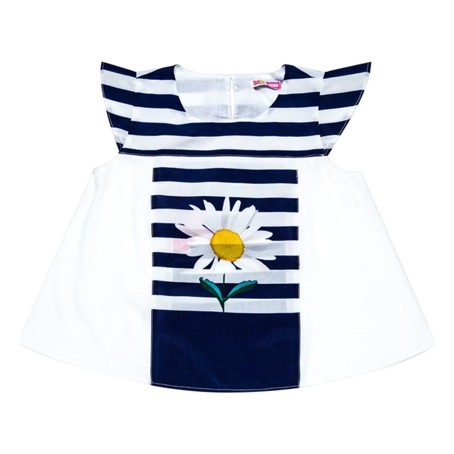 Áo Phối Sọc Trang Trí Hoa YF 6AX172 - Trắng