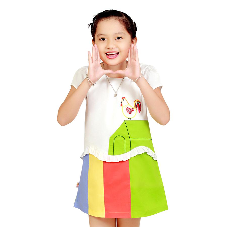 Đầm Trắng Phối Màu Giả Áo Trang Trí Con Gà YF 6DX090