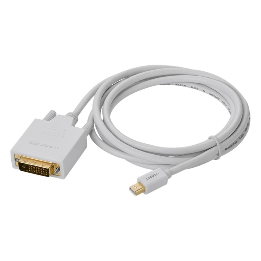 Cáp Chuyển Mini DP To DVI Ugreen  MD102 10405 (2m) - Trắng - Hàng Chính Hãng