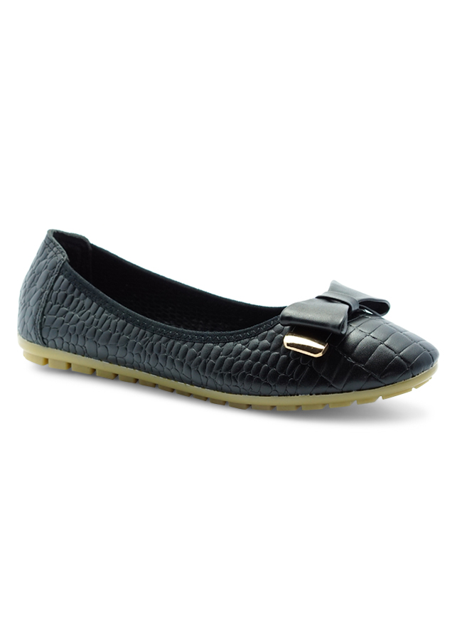 Giày Búp Bê Da Sần Gắn Khóa Nơ Princess PRIN41AD - Xanh Đen