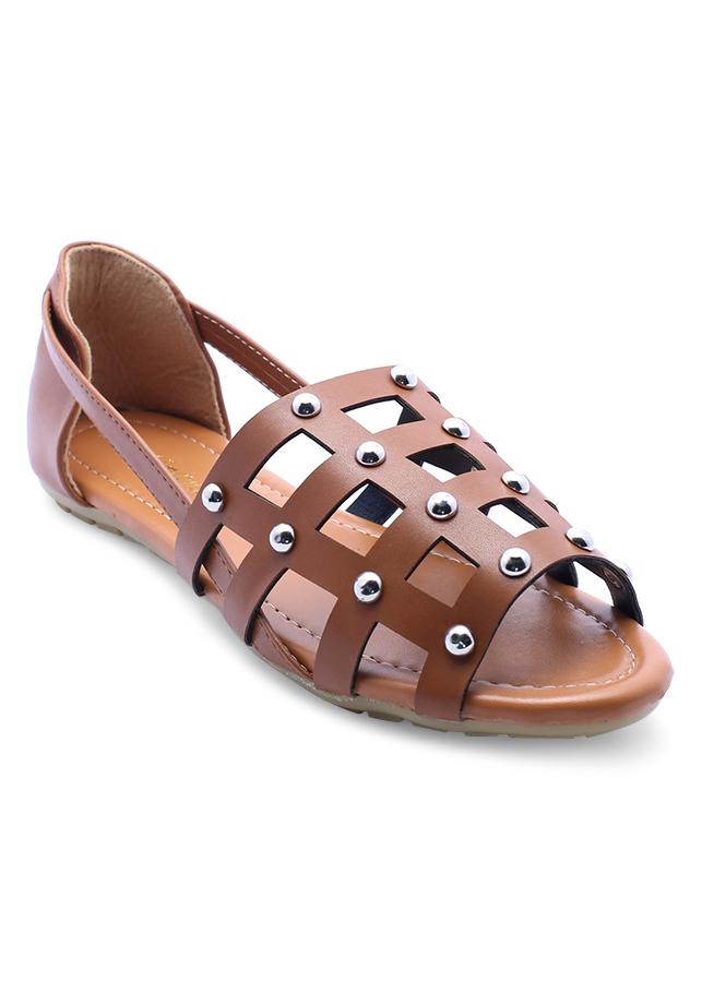 Giày Búp Bê Đế Bệt Lưới Vuông Cindydrella CD17N - Nâu