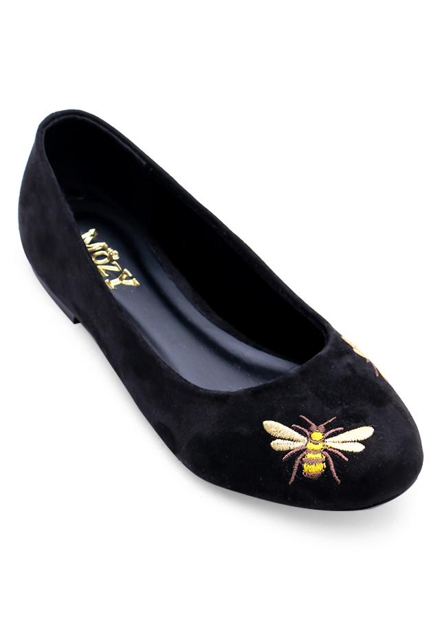 Giày Búp Bê Da Lộn Thêu Mozy Mzbb42 - Đen