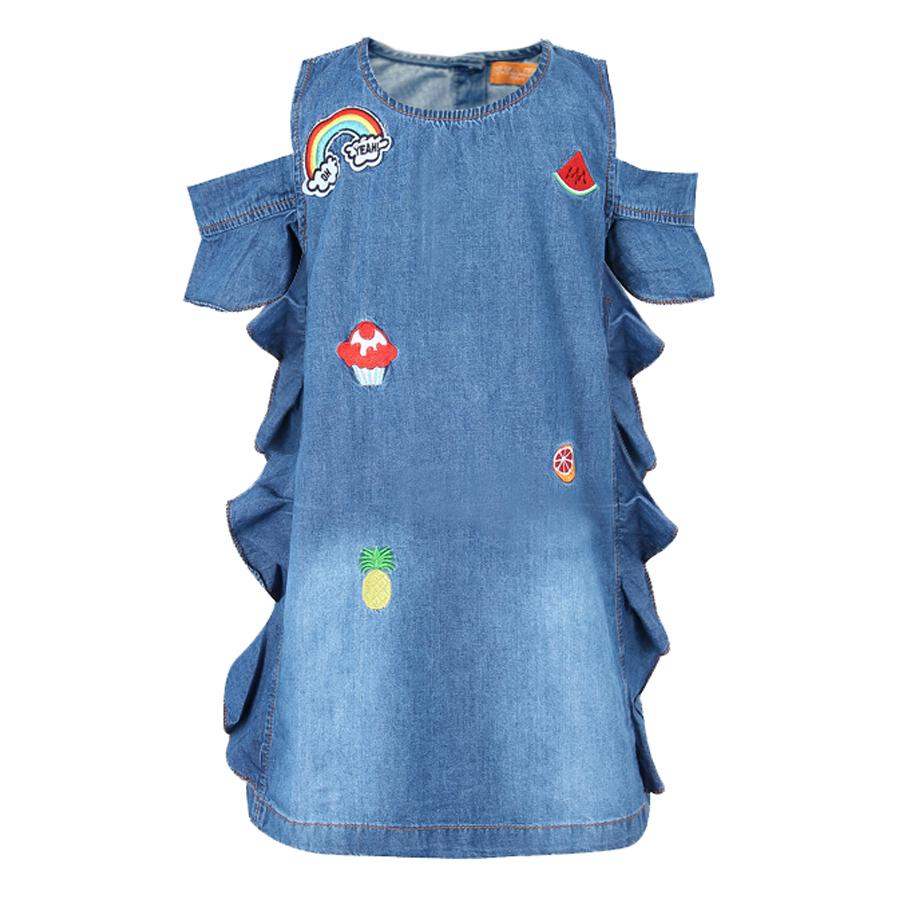 Đầm Jeans Tay Ngắn VTA Kids BG70502 - Xanh
