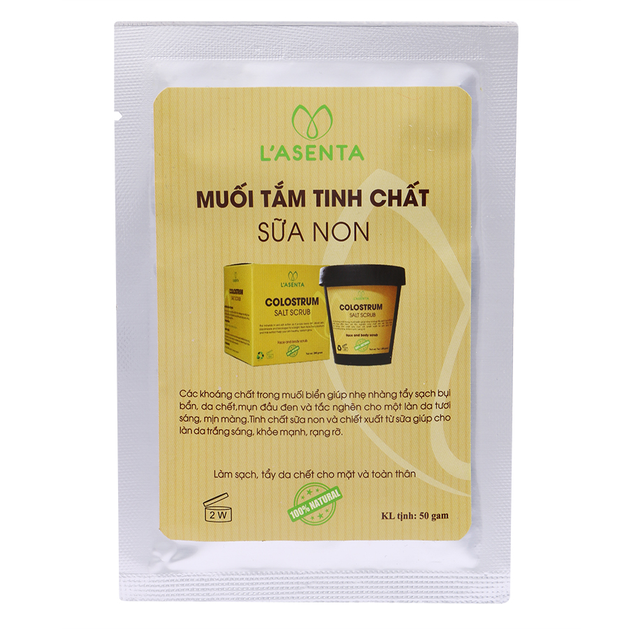 Muối Tắm Tinh Chất Sữa Non L'asenta Colostrum Salt Scrub (50g)