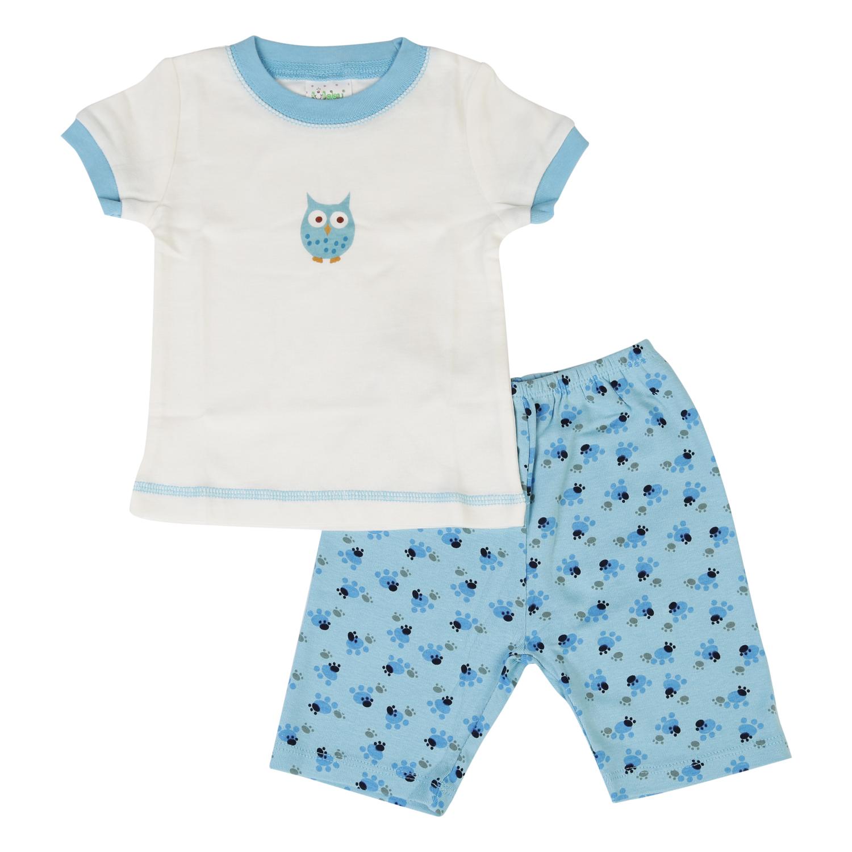 Set Pijama Tay Ngắn Cho Bé LullabyBaby NH03-14 - Trắng Viền Xanh
