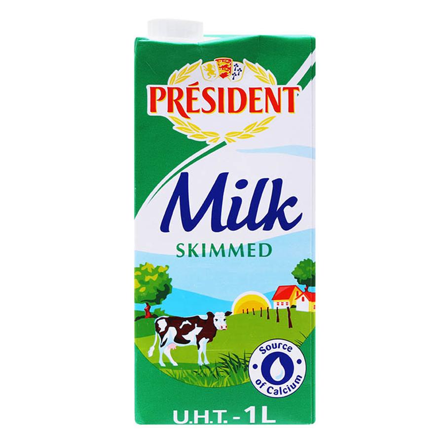 Sữa Tươi Tiệt Trùng Tách Béo President (1 lít)