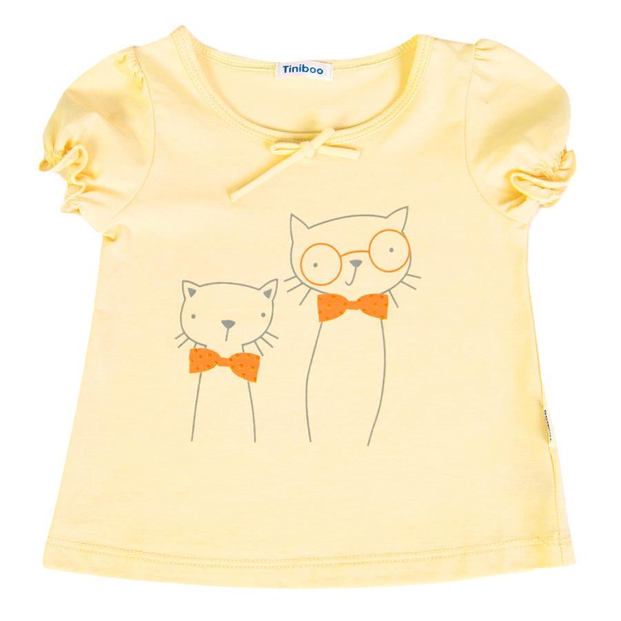 Áo Thun Tay Ngắn In Hình Mèo Tiniboo - Vàng