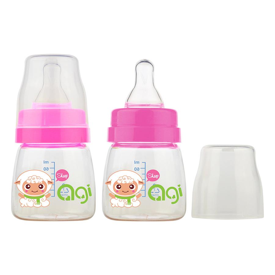 Bộ 2 Bình Sữa Agi Premium (60ml x 2) - Trắng