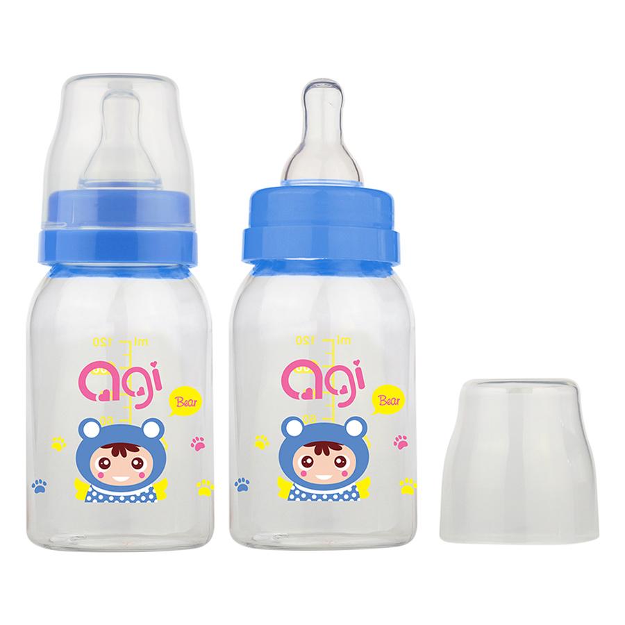 Bộ 2 Bình Sữa Agi Premium (120ml) - Trắng
